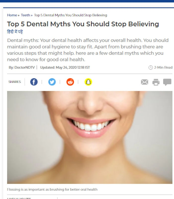 Busting dental myths and living in corona times by Dr Tanvir Singh